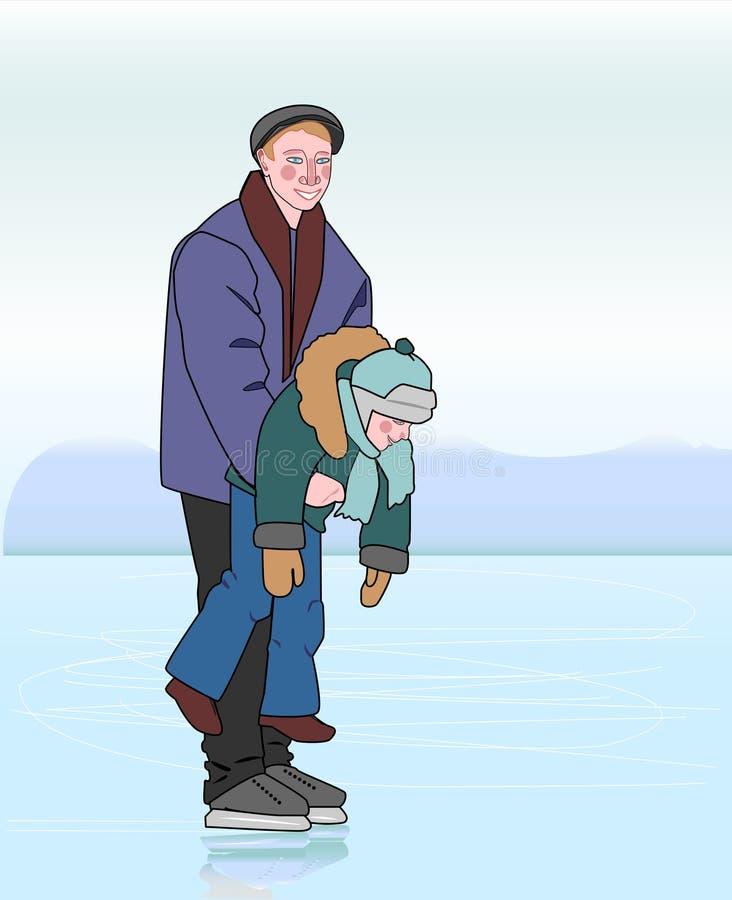 Ojcuje łyżwiarstwo z jego synem w jego rękach obraz stock
