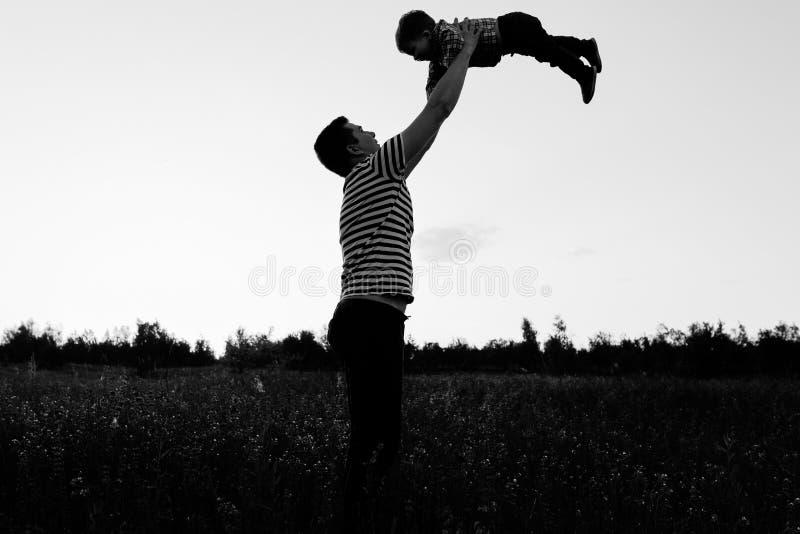Ojcuje bawić się z jego małym synem w kwiatu polu przy zmierzchem zdjęcie stock