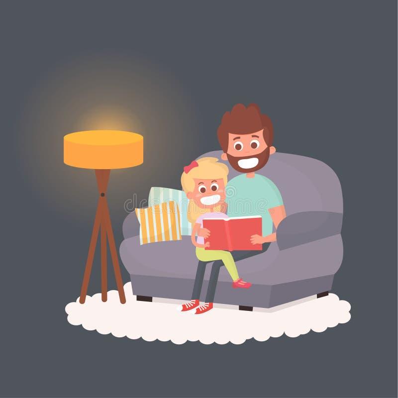 Ojcuje czyta storybook jego córka przy nocą Tata z dzieciakiem na leżance wpólnie Śliczna ilustracja rodzicielstwo royalty ilustracja