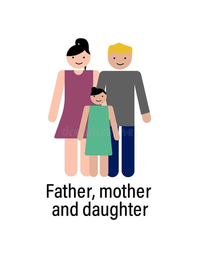 Ojcuje, matka i córki ikona może używać dla sieci, logo, mobilny app, UI, UX ilustracja wektor