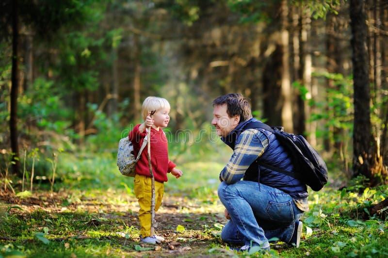 Ojcuje podczas wycieczkuje aktywność w lesie i jego syna odprowadzenie obraz royalty free