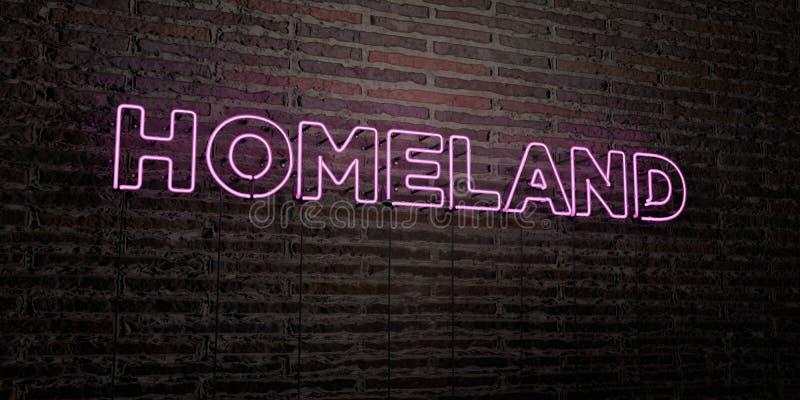OJCZYZNA - Realistyczny Neonowy znak na ściana z cegieł tle - 3D odpłacający się królewskość bezpłatny akcyjny wizerunek ilustracja wektor