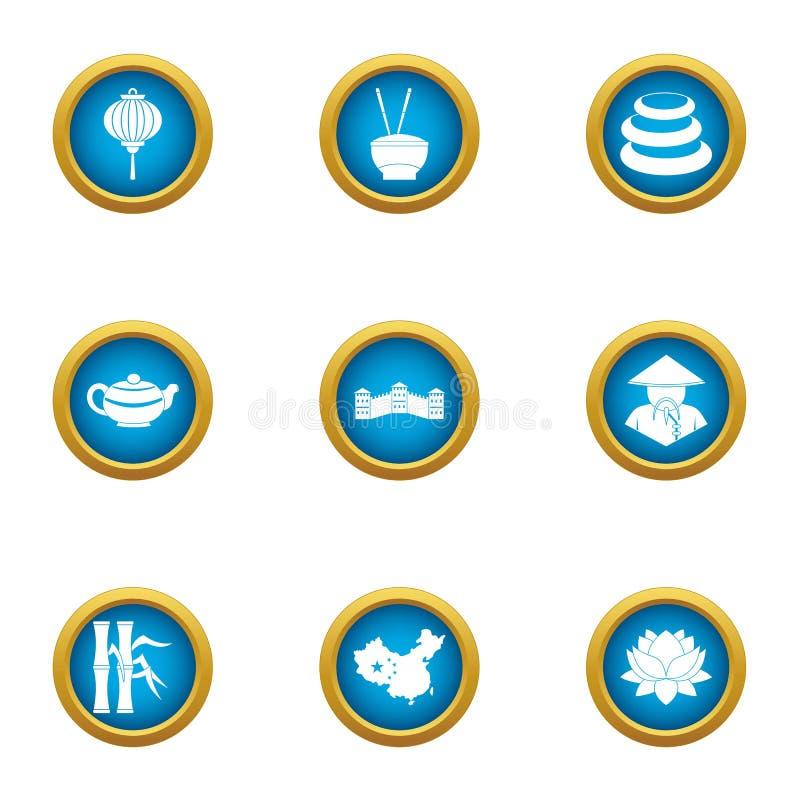 Ojczyzna w Asia ikonach ustawiać, mieszkanie styl royalty ilustracja