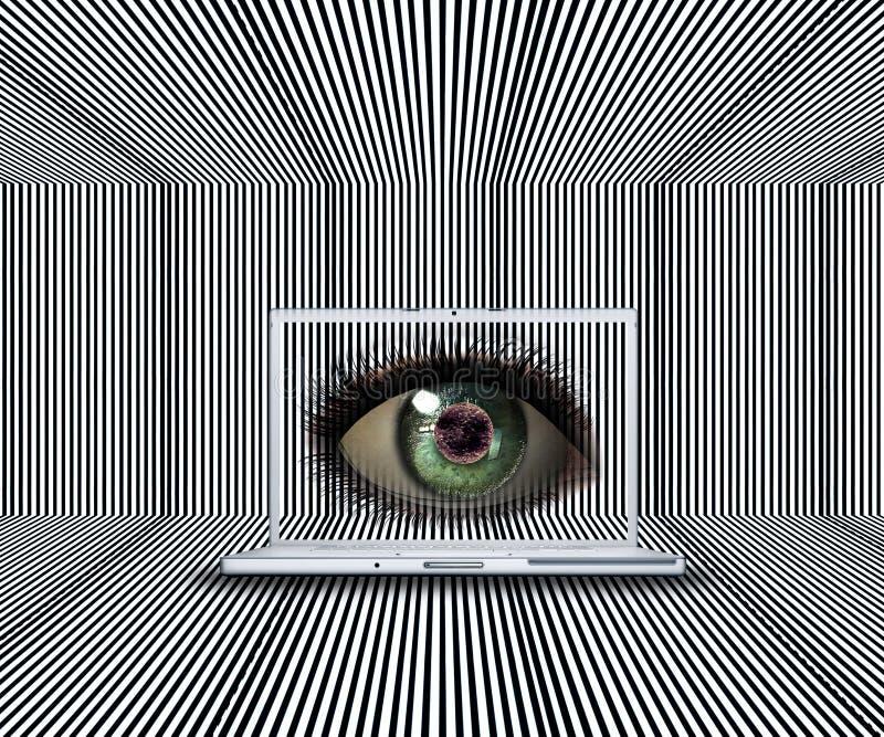 ojo 3D en la pantalla de la computadora portátil libre illustration