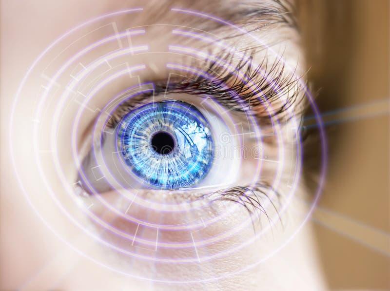 Ojo abstracto con el círculo digital Ciencia de la visión y concepto futuristas de la identificación imagenes de archivo