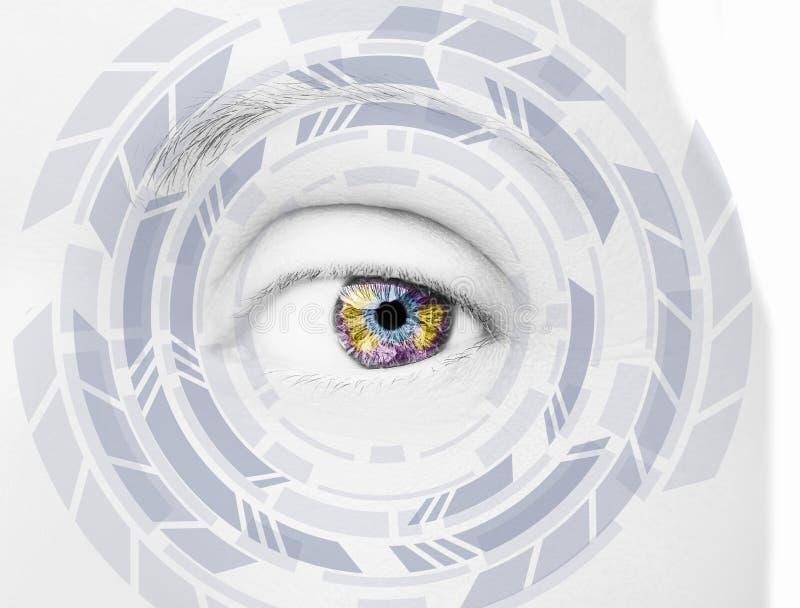 Ojo abstracto con el círculo digital Ciencia de la visión y concepto futuristas de la identificación foto de archivo libre de regalías