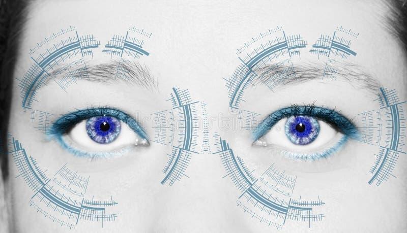 Ojo abstracto con el c?rculo digital Ciencia de la visi?n y concepto futuristas de la identificaci?n imagen de archivo libre de regalías