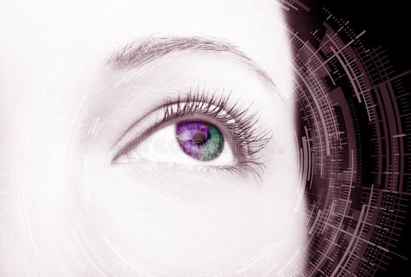 Ojo abstracto con el c?rculo digital Ciencia de la visi?n y concepto futuristas de la identificaci?n fotografía de archivo libre de regalías
