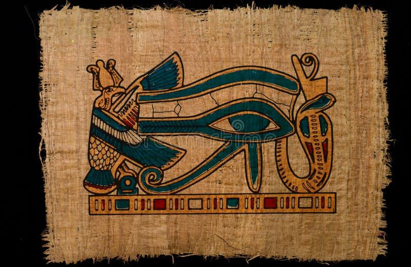 ojo antiguo del horus del ejemplo en el papel del papiro imagen de archivo libre de regalías