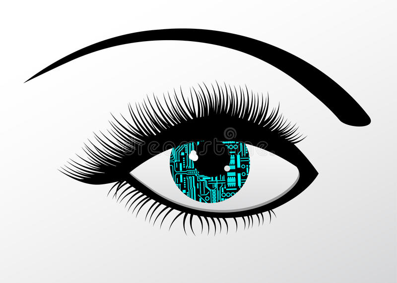 Ojo automatizado tecnología futurista stock de ilustración