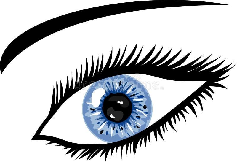 Ojo azul de hielo con los latigazos ilustración del vector