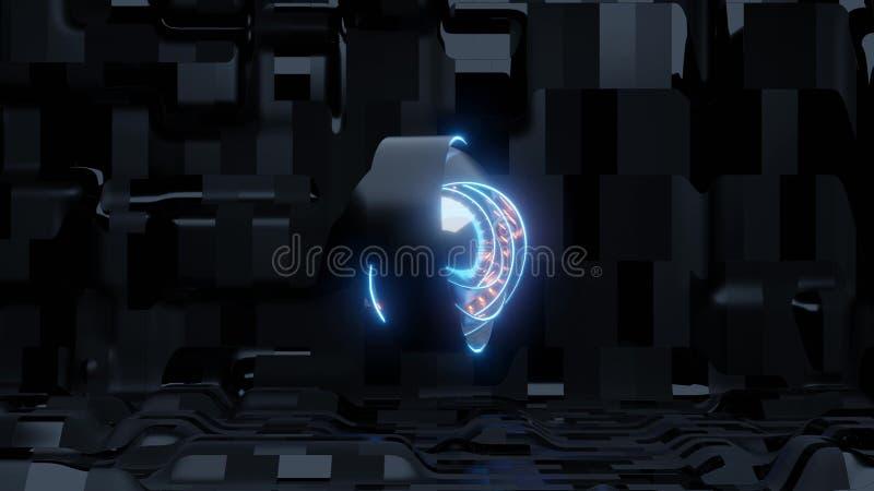 Ojo azul del scifi con el fondo extranjero de la nave y las luces anaranjadas ilustración del vector