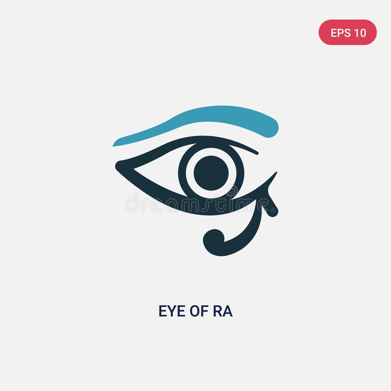 Ojo bicolor del icono del vector del ra del concepto de la religión el ojo azul aislado del símbolo de la muestra del vector del  libre illustration