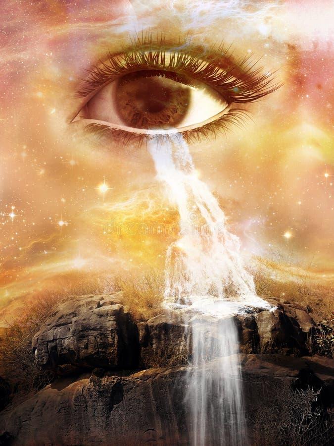 Ojo cósmico surrealista, cascada, rasgones, grito, agua fotografía de archivo libre de regalías