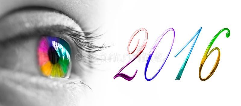ojo colorido del arco iris 2016 stock de ilustración