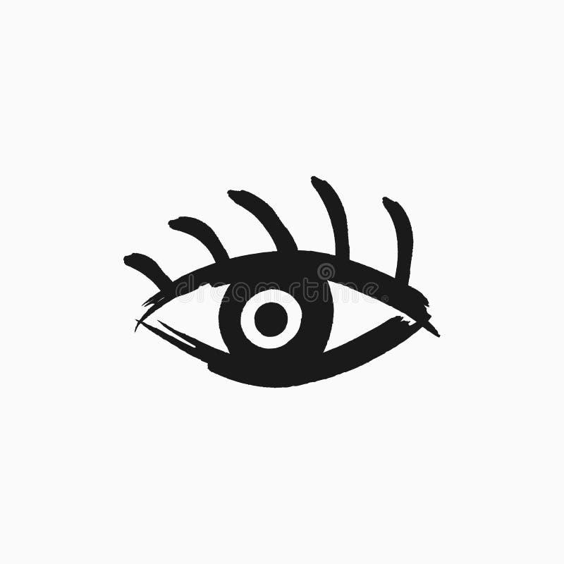 Ojo con las pestañas dibujadas a mano con el cepillo áspero Icono del Grunge, símbolo, logotipo Bosquejo, acuarela, pintada, pint ilustración del vector