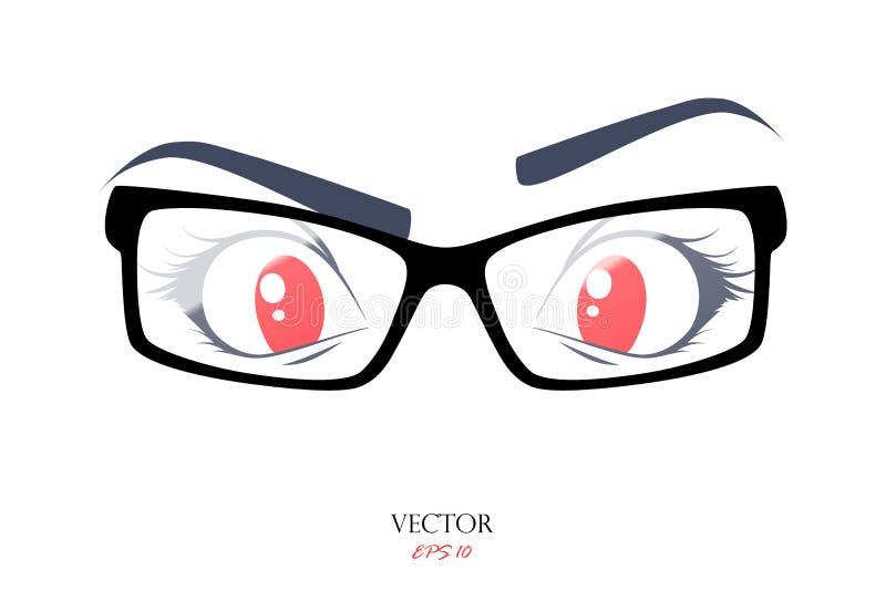 Ojo con los vidrios, ejemplo del vector en el fondo blanco stock de ilustración