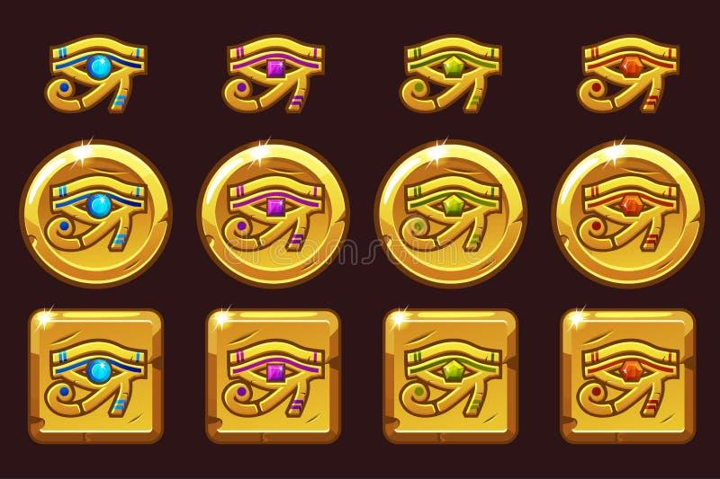 Ojo de Egipto de Horus con las gemas preciosas coloreadas Iconos de oro egipcios en diversas versiones stock de ilustración