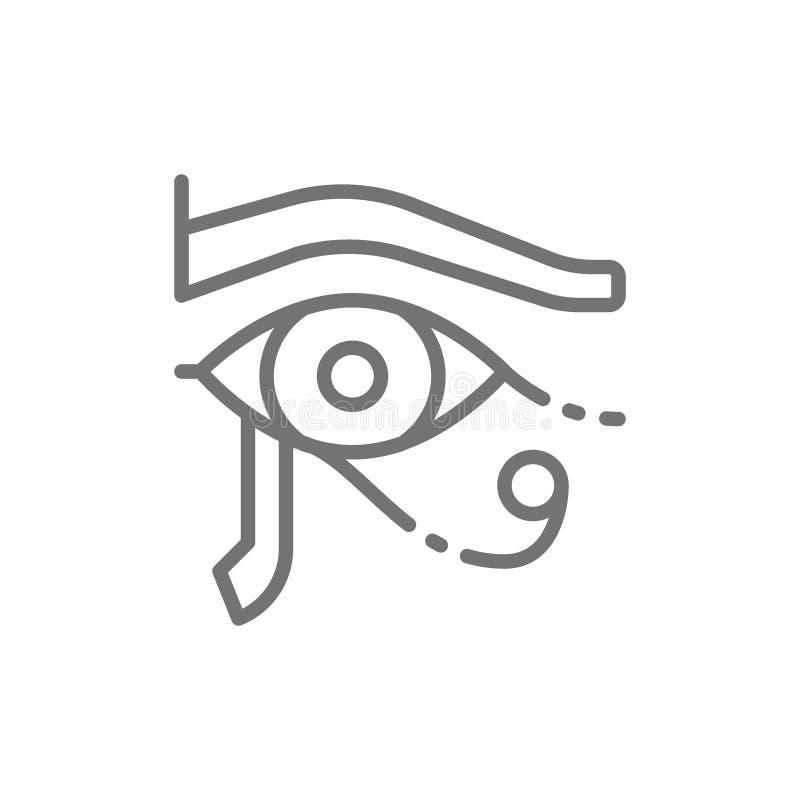 Ojo de Horus, línea egipcia antigua icono de la luna stock de ilustración
