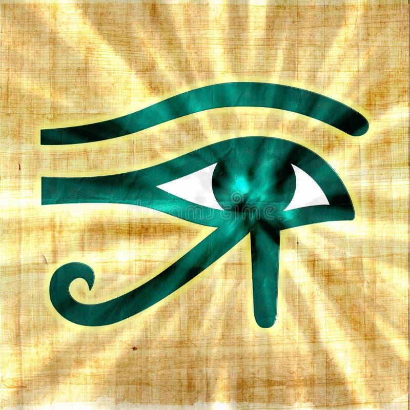 Ojo de Horus que brilla intensamente en el papiro imagen de archivo libre de regalías