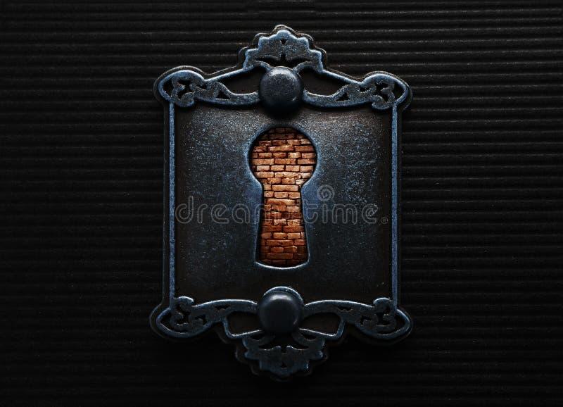 Ojo de la cerradura con el brickwall imagen de archivo