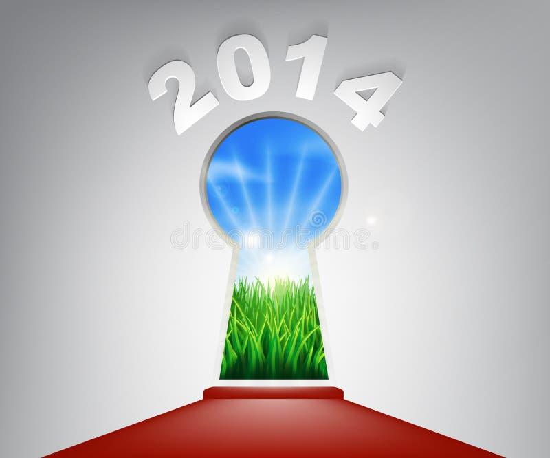 Ojo de la cerradura 2014 de la alfombra roja del Año Nuevo ilustración del vector
