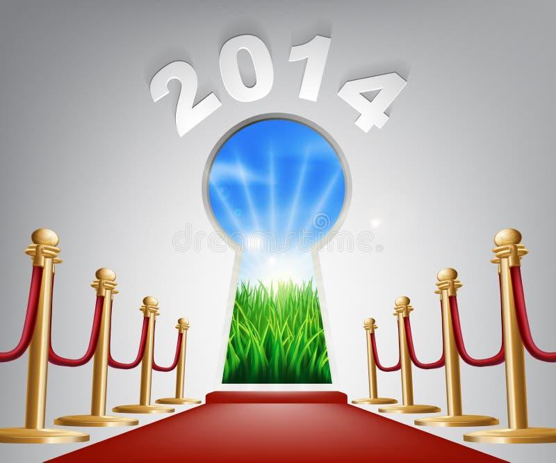 Ojo de la cerradura 2014 de la puerta del Año Nuevo ilustración del vector