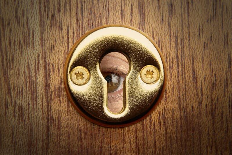 Ojo de la cerradura del espía del ojo fotos de archivo libres de regalías
