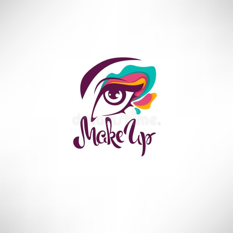 Ojo de la mujer con la composición brillante del maquillaje y de las letras ilustración del vector