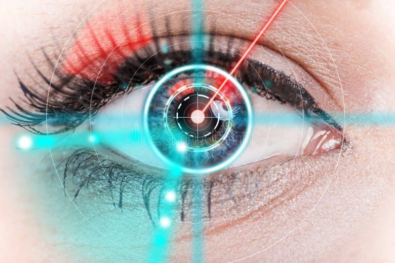 Ojo de la mujer del primer con la medicina del laser foto de archivo