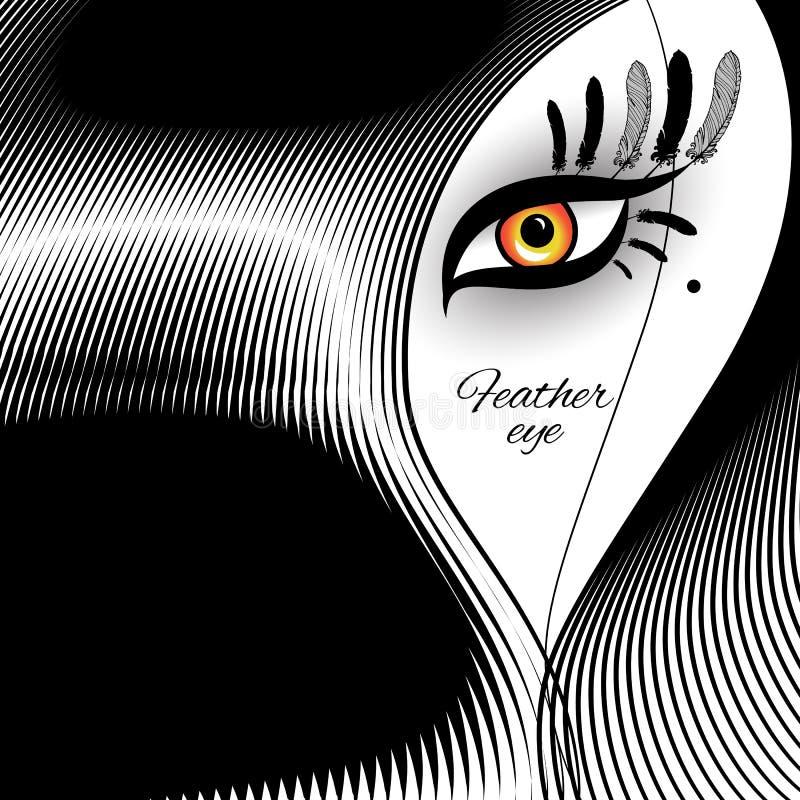 Ojo de la pluma para el diseño exótico ilustración del vector