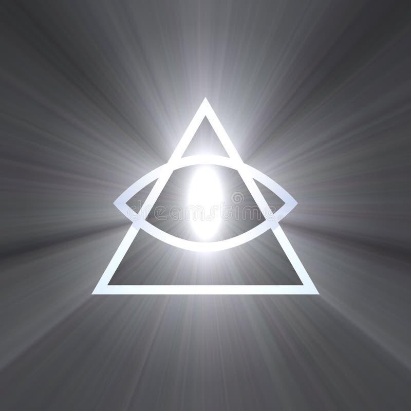 Ojo de la providencia con la llamarada ligera ilustración del vector