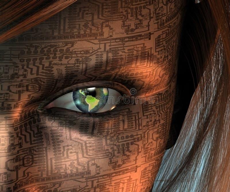 Ojo de la tecnología de la tierra ilustración del vector
