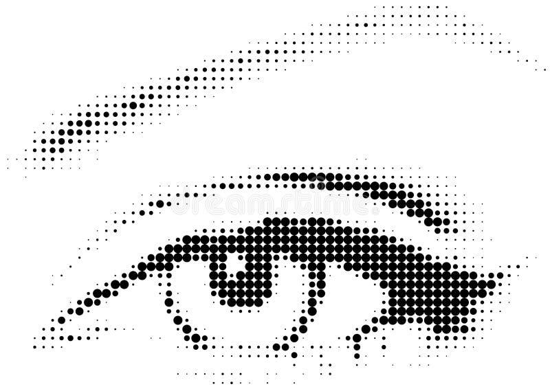 Ojo de la trama con los puntos ilustración del vector