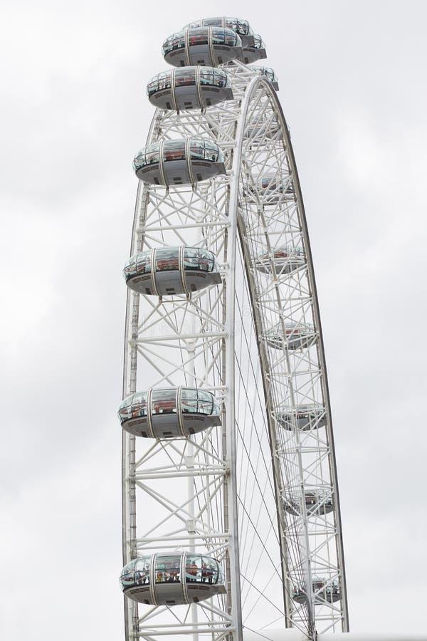 Ojo de Londres, noria, detalle de las cabinas en Londres foto de archivo libre de regalías