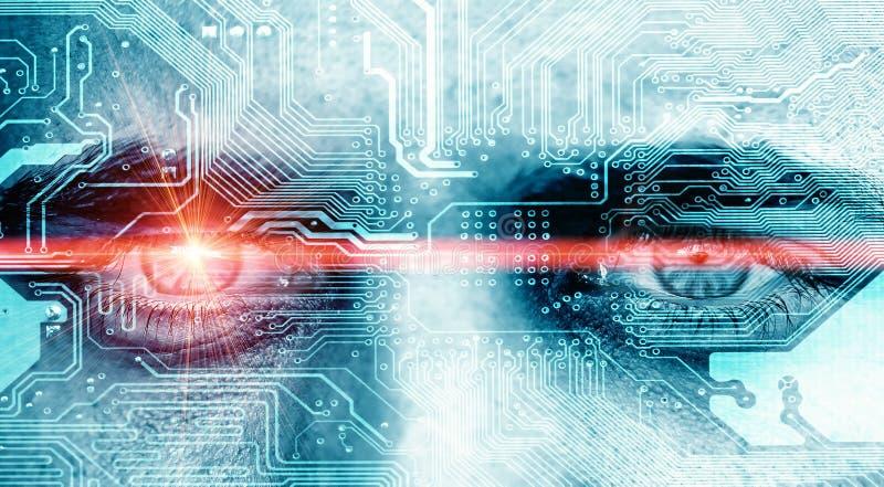Ojo de los datos con el rayo del laser foto de archivo libre de regalías