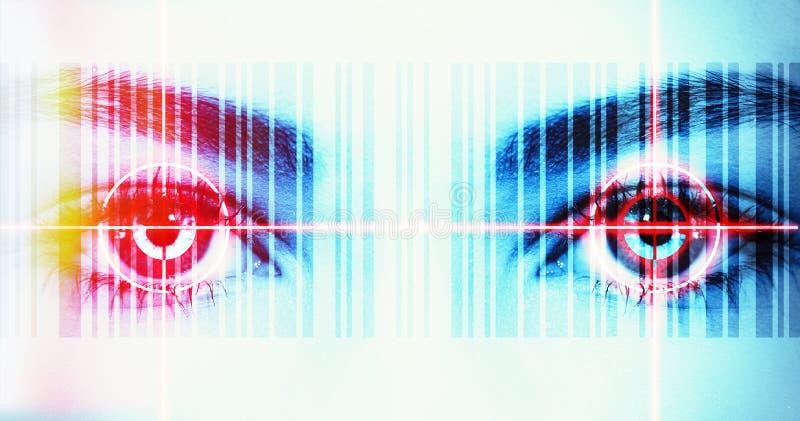 Ojo de los datos con el rayo del laser imágenes de archivo libres de regalías