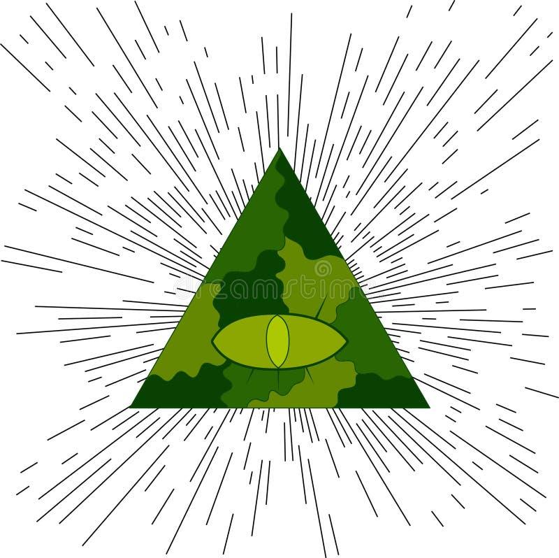 Ojo de Providence Símbolo masónico ilustración del vector