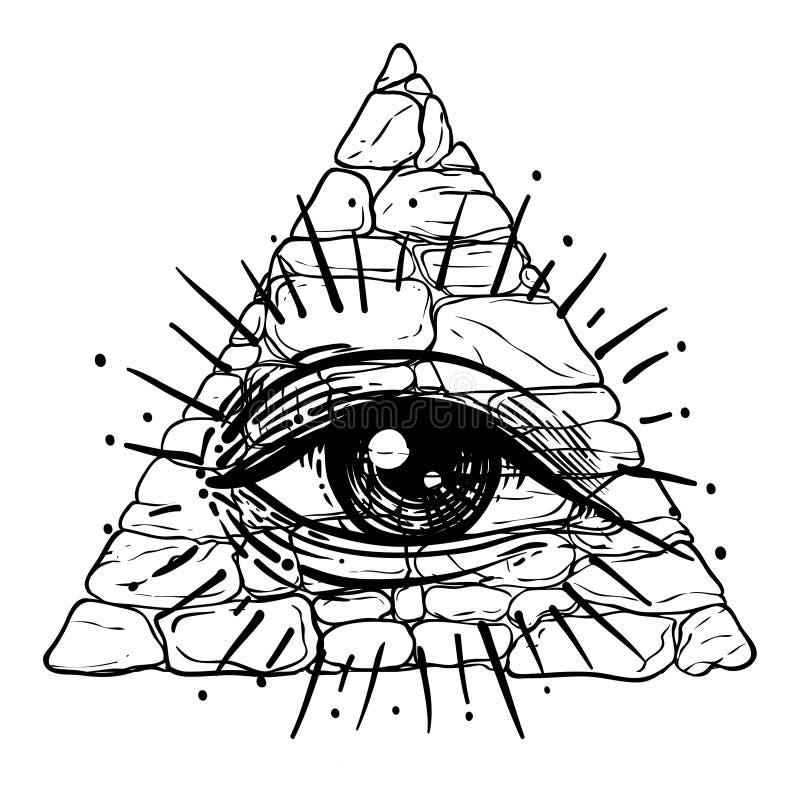Ojo de Providence Símbolo masónico Todo el ojo que ve dentro del triangl ilustración del vector