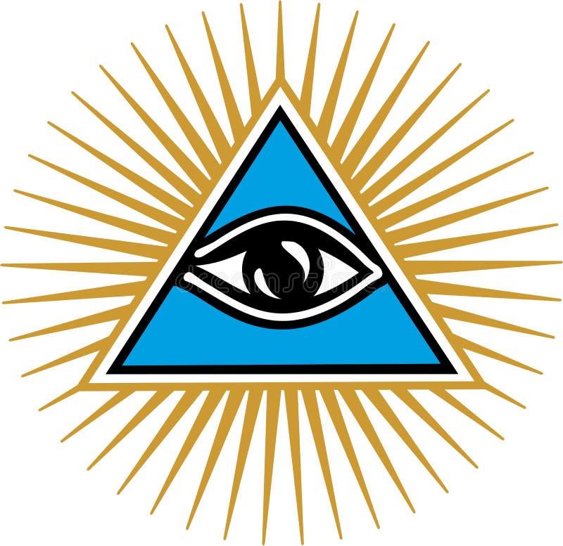 Ojo de Providence - todo el ojo que ve de dios stock de ilustración