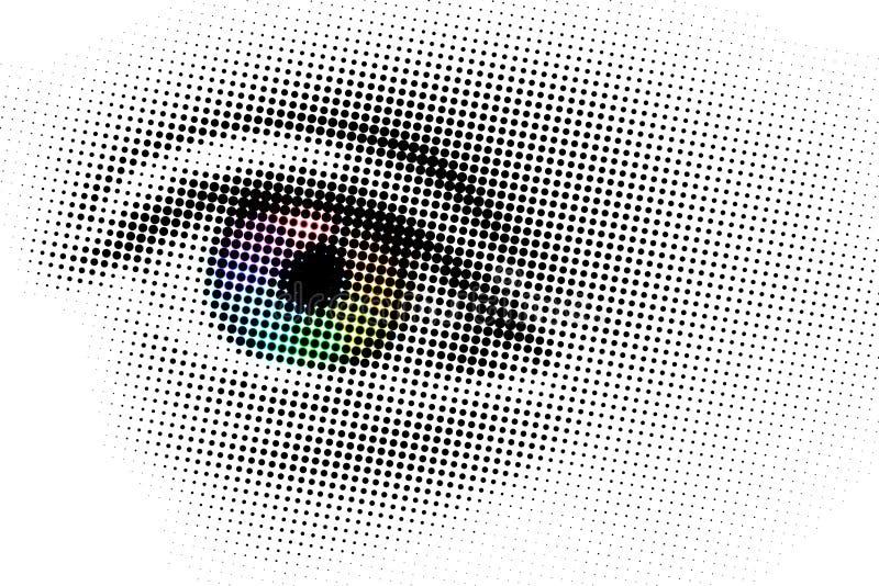 Ojo del arco iris, arte pop con los puntos foto de archivo
