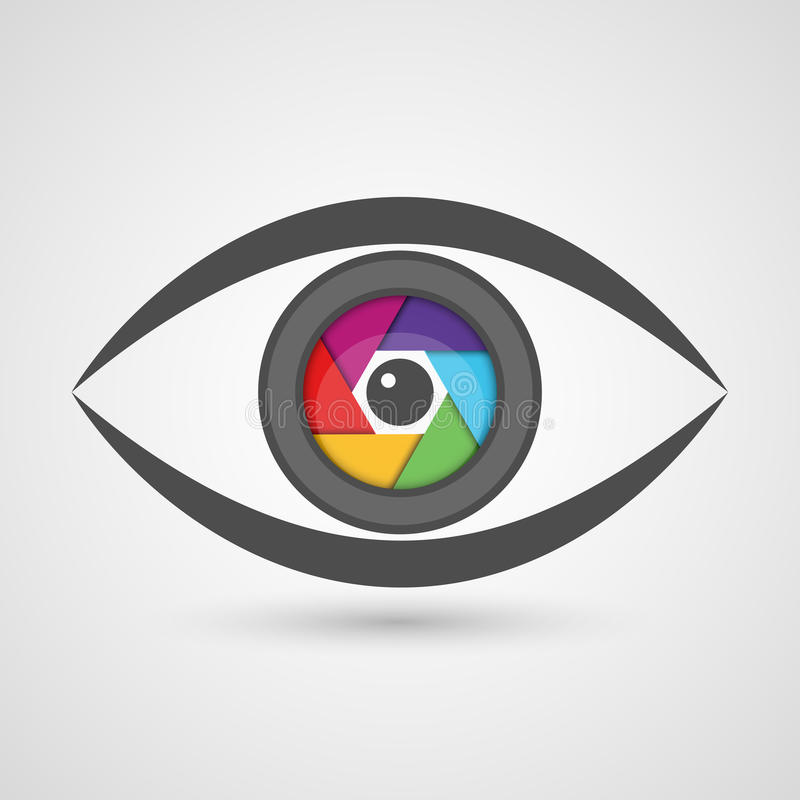 Ojo del icono como lente de cámara con el obturador colorido del diafragma libre illustration