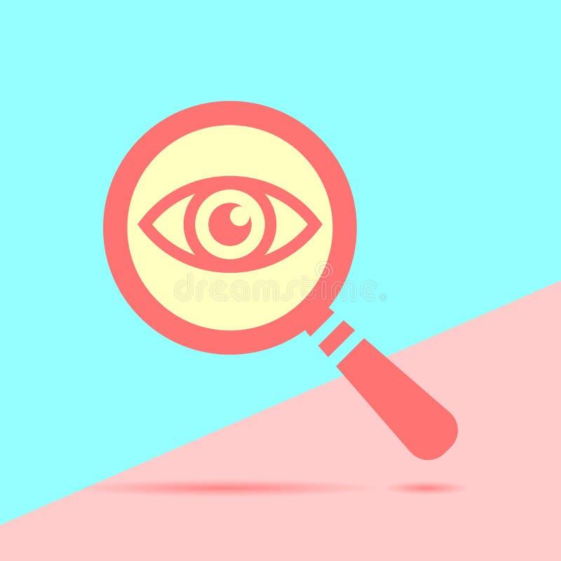 Ojo del icono con una lupa en el pastel azul y rosado coloreado stock de ilustración
