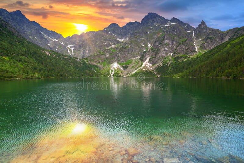 Ojo del lago sea en la puesta del sol imagen de archivo libre de regalías