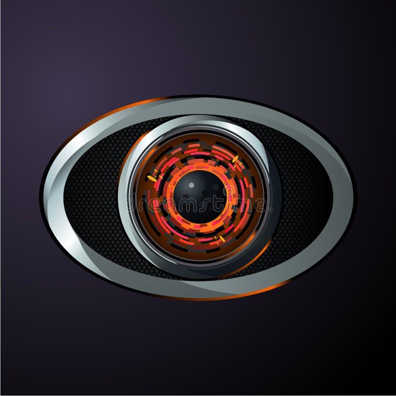 Ojo del robot, estilo material del diseño Protección de datos de Digitaces Información y control del ordenador Vector realista ilustración del vector