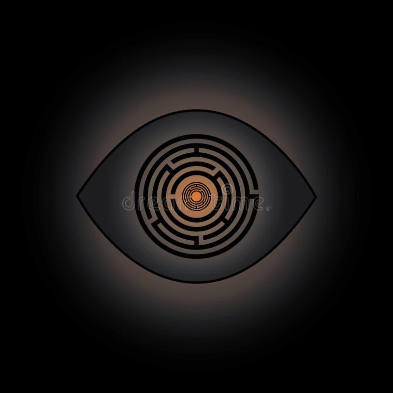 Ojo del símbolo del laberinto stock de ilustración