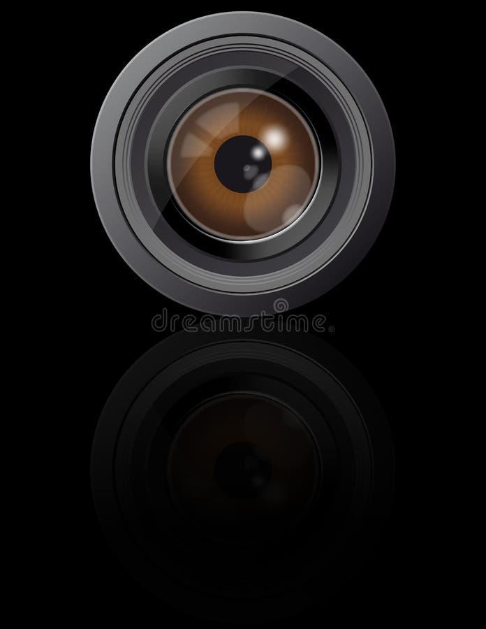 Ojo en lente de cámara ilustración del vector