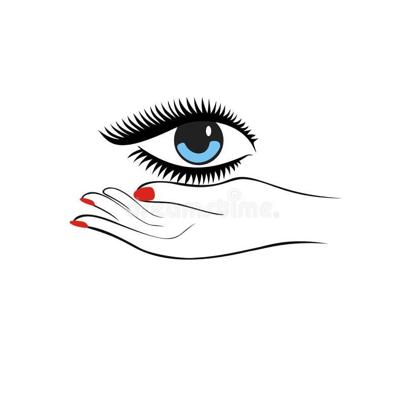 Ojo femenino del control de la mano Concepto de la manera Protección ocular u ojo doc. ilustración del vector