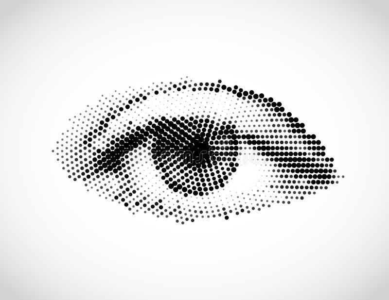 Ojo gris de la mujer abstracta hecho de puntos. Vector libre illustration