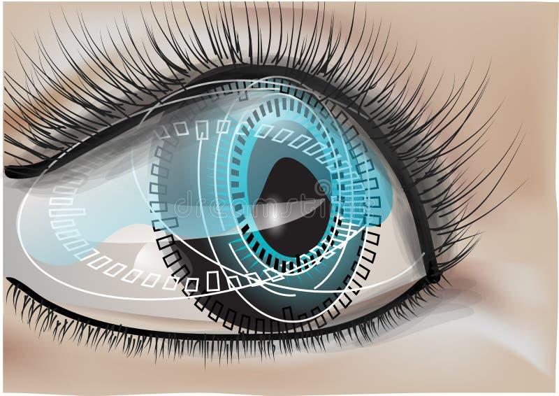 Ojo humano biónico ilustración del vector